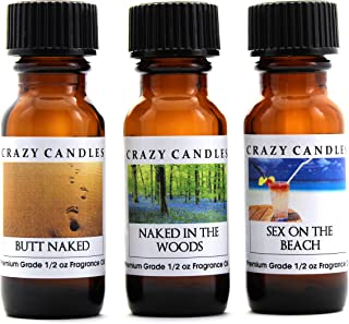 Crazy Candles 3 Bottle Set: 1 Butt Naked, 1 Naked in The Woods, 1 Sex On The Beach 1/2 Fl Oz Each (15ml) Premium Grade Scented Fragrance Oil