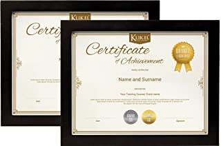 Klikel Certificate Frame Set of 2-8.5 X 11 Inch Solid Wood Black Frame - Diploma Document Certificate Photo Frame - Wall Hanging Mount and Table Stand - Frame for Home and Office