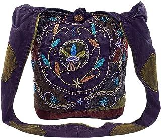 GURU SHOP Batik Sadhu Bag, Hippie Tasche, Goa Schulterbeutel - Lila, Herren/Damen, Baumwolle, 40x35x25 cm, Alternative Umh...