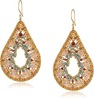 Miguel Ases Large Ankara Print Neutral Intricate Swarovski Tear Drop Earrings