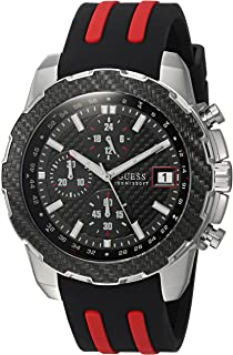 GUESS Men's Stainless Steel Casual Silicone Watch, Color: Black (Model: U1047G1)