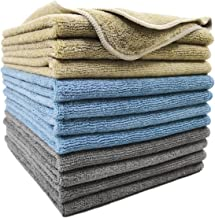 Polyte Microfiber Cleaning Towel (16x16, 12 Pack Professional, Blue,Camel,Gray)