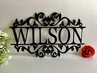 Personalized Any Name Laser Cut Acrylic Sign Outdoor Wall Hanging Family Last Name Signs Monogram Garden Front Door Custom Wedding Sign Wall Art Decor Ornament Housewarming Gift for Hostess House Sign