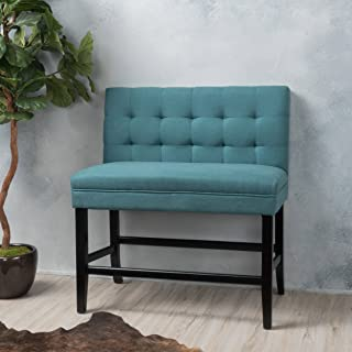 Great Deal Furniture Paddy Dark Teal Fabric Barstool Bench