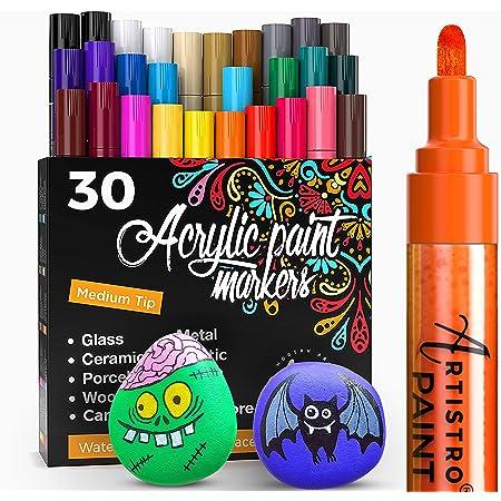 Artistro marqueur Acrylique stylos acryliques - 30 Couleurs - Marqueurs Peinture Acrylique - Feutre Acrylique Pointe Large 2mm - Stylos de Peinture pour Roche, Bois, métal, Plastique, Verre, Toile.