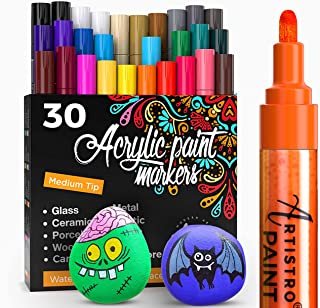 Acrylic Paint Markers Pens – 30 Acrylic Paint Pens Medium Tip (2mm) - Great for Rock Painting, Wood, Fabric, Card, Paper, ...