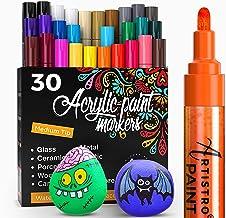 ARTISTRO Pisaki do malowania kamieni, kamienia, ceramiki, szkła, drewna, płótna, do majsterkowania, zestaw z 30 markerami ...