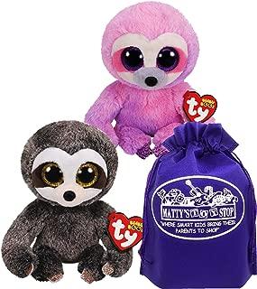 TY Beanie Sloths Dangler (Grey/Brown) & Dreamy (Pink/Purple) Gift Set Bundle with Bonus Matty's Toy Stop Storage Bag - 2 Pack