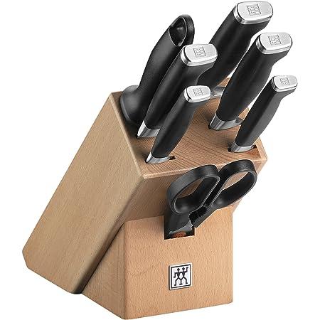 ZWILLING Bloc de Couteaux, 8 Pièces, Bloc en Bois, Couteaux et Ciseaux en Acier Inoxydable Spécial/Manche Plastique, Twin Four Star II