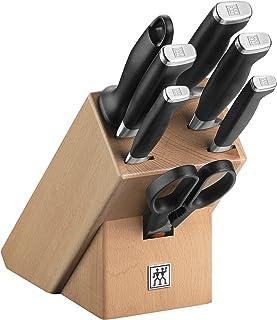 ZWILLING Bloc de Couteaux, 8 Pièces, Bloc en Bois, Couteaux et Ciseaux en Acier Inoxydable Spécial/Manche Plastique, Twin ...