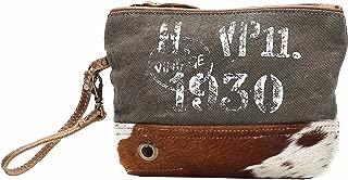 Myra Bag Vintage 1930 Upcycled Canvas Wristlet Bag S-1144