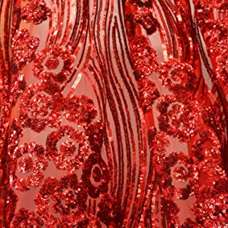 4e675add88 Red Luxury Wavy Floral Shinny Sequins Dress Fabric 54