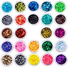 Hotop 24 Box Mixed Color Make Up Body Glitters Nail Art Decoration Cosmetic Paillette Dust Powder