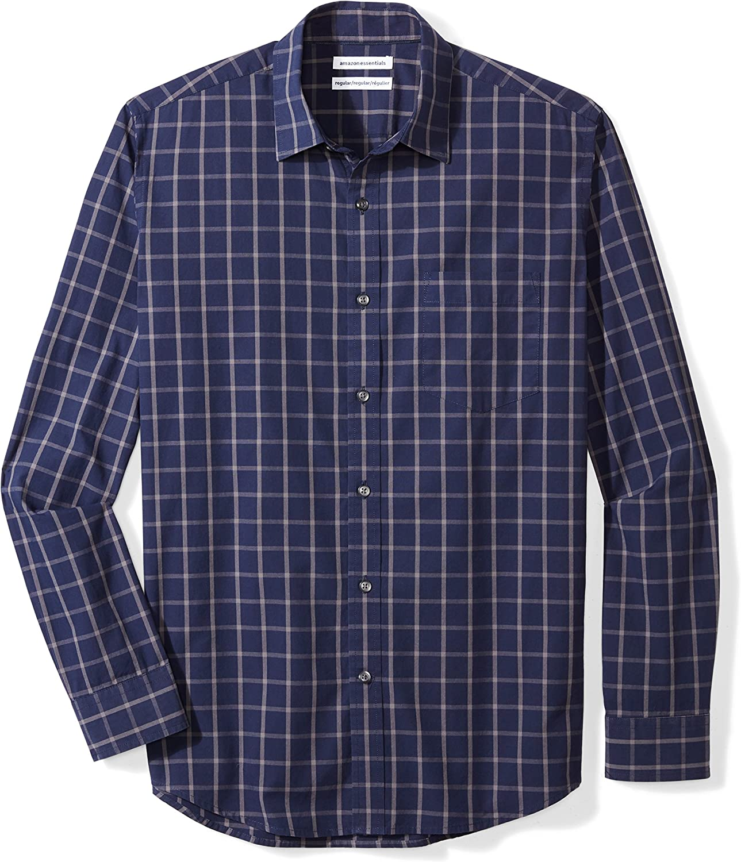 Amazon Essentials Men's Long-Sleeve Regular-fit Casual Poplin Shirt