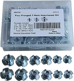 IEUYO 4 Pronged Zinc Plated Steel T-Nut Wood Tee Blind Nut T-Nut 1/4