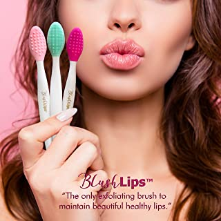 BlushLips, 2-1 Double-Sided Silicone Exfoliating Lip Brush Tool, for Smoother and Fuller Lip Appearance. (Fuchsia)