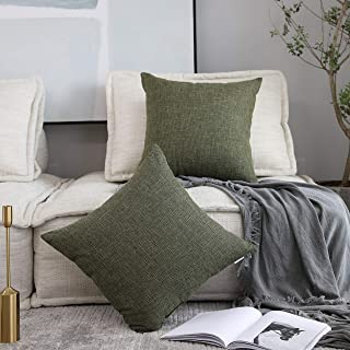Kevin Textile Cotton Linen Soft Decorative Square Throw Pillow Covers Cushion Case for Sofa Bedroom Car, 2 Pc, 20 x 20 Inch 50 x 50 cm, Peridot Green
