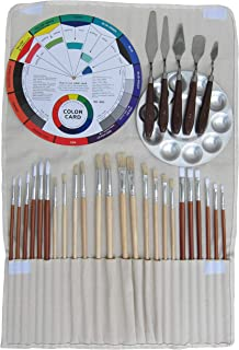 Artist Oil & Acrylics Painting Kit 32Pcs, (24Pcs Brushes, 1Pc Rollup Bag, 1Pc Aluminium Palette, 5Pcs Stainless Steel Spatula, 1Pc 9-Inch Color Wheel), Student Quality Painting Training 32-Pack