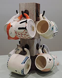Farmhouse Coffee Mug Tree, Wooden Cup Holder, Kitchen Display Stand, Counter Top Storage Hanger, for 8 mugs Natural Rustic Reclaimed Wood.