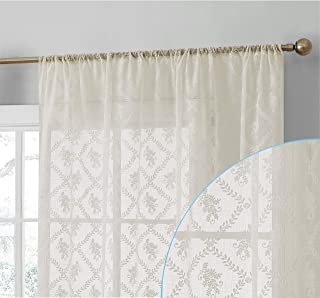 HLC.ME Isabella Floral Premium Soft Decorative Lace Semi Sheer Voile Rod Pocket Window Treatment Curtain Drapery Panels for Bedroom & Living Room - Set of 2 Panels (54 x 84 inches Long, Ivory)