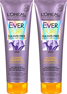 L'Oreal Paris Hair Care EverPure Blonde Sulfate Free Shampoo for Color-Treated Hair, Neutralizes Brass + Balances, For Blonde Hair, 2 Count (8.5 Fl. Oz each)