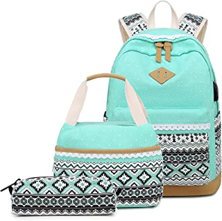 Abshoo Polka Dot Canvas Backpacks for Girls School Bookbags Teen Backpacks with Lunch Bag (9G5 Green)