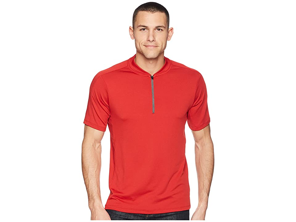 Perry Ellis PE360 Active Mesh Zip Polo (Bright Haute Red) Men