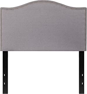 Flash Furniture Lexington Upholstered Twin Size Headboard with Accent Nail Trim in Light Gray Fabric
