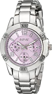August Steiner Women's Multifunction Fashion Watch - Light Purple Dial with Day of Week, Date, and 24 Hour Subdial on Silver Stainless Steel Bracelet - AS8143