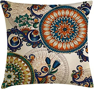 Ambesonne Ethnic Decor Throw Pillow Cushion Cover, Floral Arabesque Boho Pattern with Floral and Peacock Feather Figures Folk Image, Decorative Square Accent Pillow Case, 16 X 16 Inches, Multi