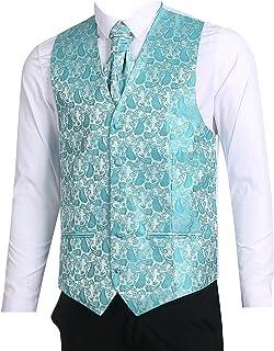 L&L® Men's Paisley Waistcoat Vest and Cravat Pocket Square Set for Suit UK Christmas