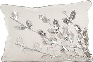 SARO LIFESTYLE Metallic Poinsettia Branch Design Holiday Cotton Poly Filled Throw Pillow, 12 x 18, Silver