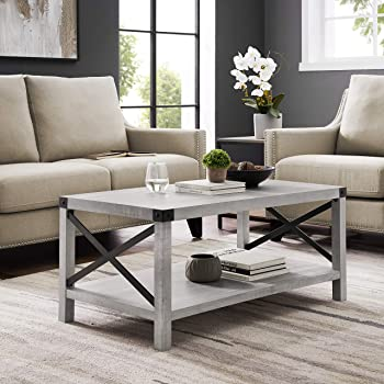 Amazon Com Walker Edison Rustic Modern Farmhouse Metal And Wood Rectangle Accent Coffee Table Living Room Ottoman Storage Shelf Stone Grey Furniture Decor