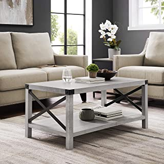 WE Furniture AZF40MXCTST Modern Farmhouse Coffee Table with Storage for Living Room, 40