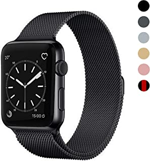 OSUVOX Compatible for IWatch Band, 38mm/40mm 42mm/44mm, Stainless Steel Loop Magnetic Band Compatible with Iwatch Series 5/4/3/2/1 (Black, 42mm/44mm)