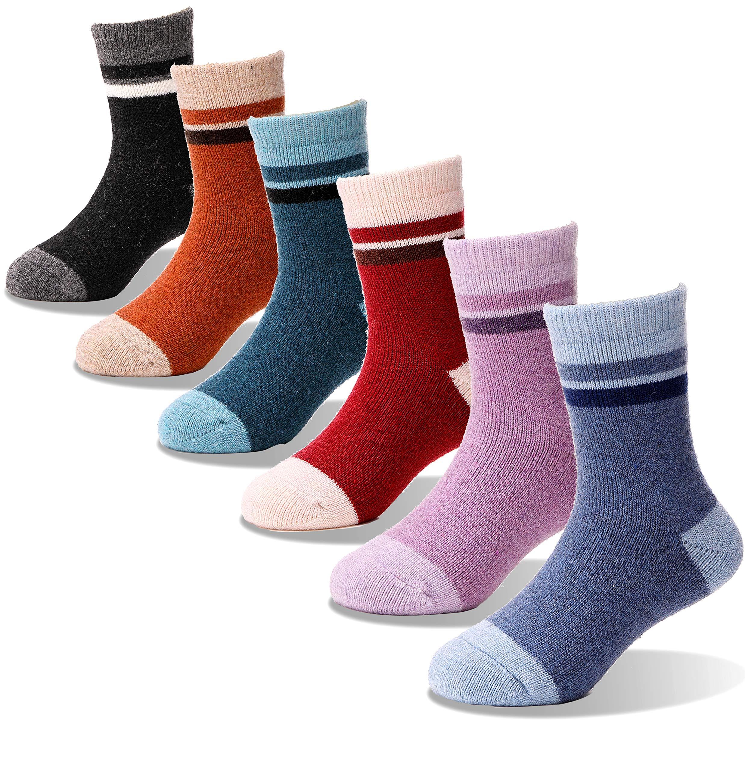 Children Wool Socks For Boy Girl Kids Toddler Thick Thermal Warm Cotton Winter Crew Socks 6 Pack