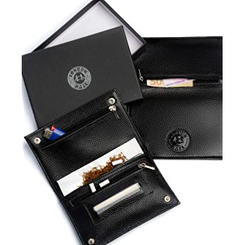 Portatabacco in pelle nero con logo London Haze in rilievo - astuccio porta tabacco - Idea regalo per fumatore. Black leather Tobacco Pouch