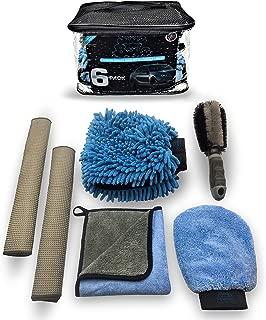 Sudz Budz Premium Microfiber Car Wash Kit 6pcs | Chenille Mitt, Dual Wash Mitt, Microfiber Towels, Wheel Brush | Auto Detailing Supplies for Interior, Exterior, Washing, Drying Car Care Cleaning Tools