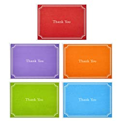 Hallmark Thank You Cards, Assorted Solid Colors (Pack of 50 Note Cards with Envelopes, Blank Thank Y