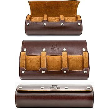 Watch Roll Travel Case - Watch Case for Men and Women - 3 Watch Display Case Storage and Organizer - Lavish Swiss Motif Design