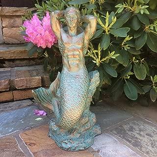 21 in. Sexy Triton Merman Male Mermaid on Nautical Rock Bronze Patina Beach and Pool Statue