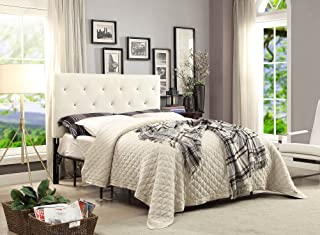 AC Pacific Contemporary Crystal Diamond Tufted Headboard, King, White