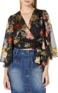 ASTR the label Women's Imogen Bell Sleeve Cropped Wrap Top