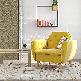 Novogratz Tallulah Memory Foam Arm, Mustard Yellow Velvet Accent Chair,