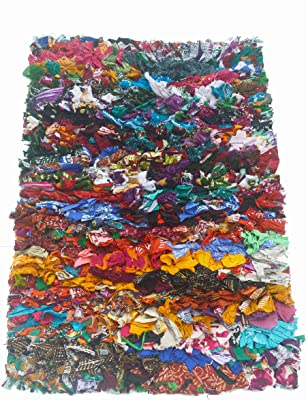 "Chardinhome Rainbow Shag Rug, 20"" x 30"", Multi-Colored"
