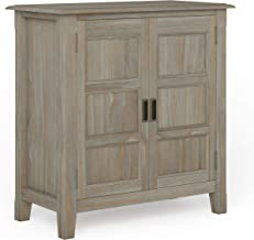 Simpli Home Burlington SOLID WOOD 30 inch Wide Traditional Low Storage Cabinet in Distressed Grey, with 2 Doors, 2 Adjusta...