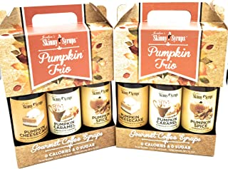 Fall Autumn Skinny Syrups Trio Pack Pumpkin Spice Pumpkin Caramel and Pumpkin Cheesecake (3- 12.7 Ounce Bottles) Gluten-Free and Kosher Fall Autumn Harvest Flavors (BONUS JFW Exclusive Fall in Love)
