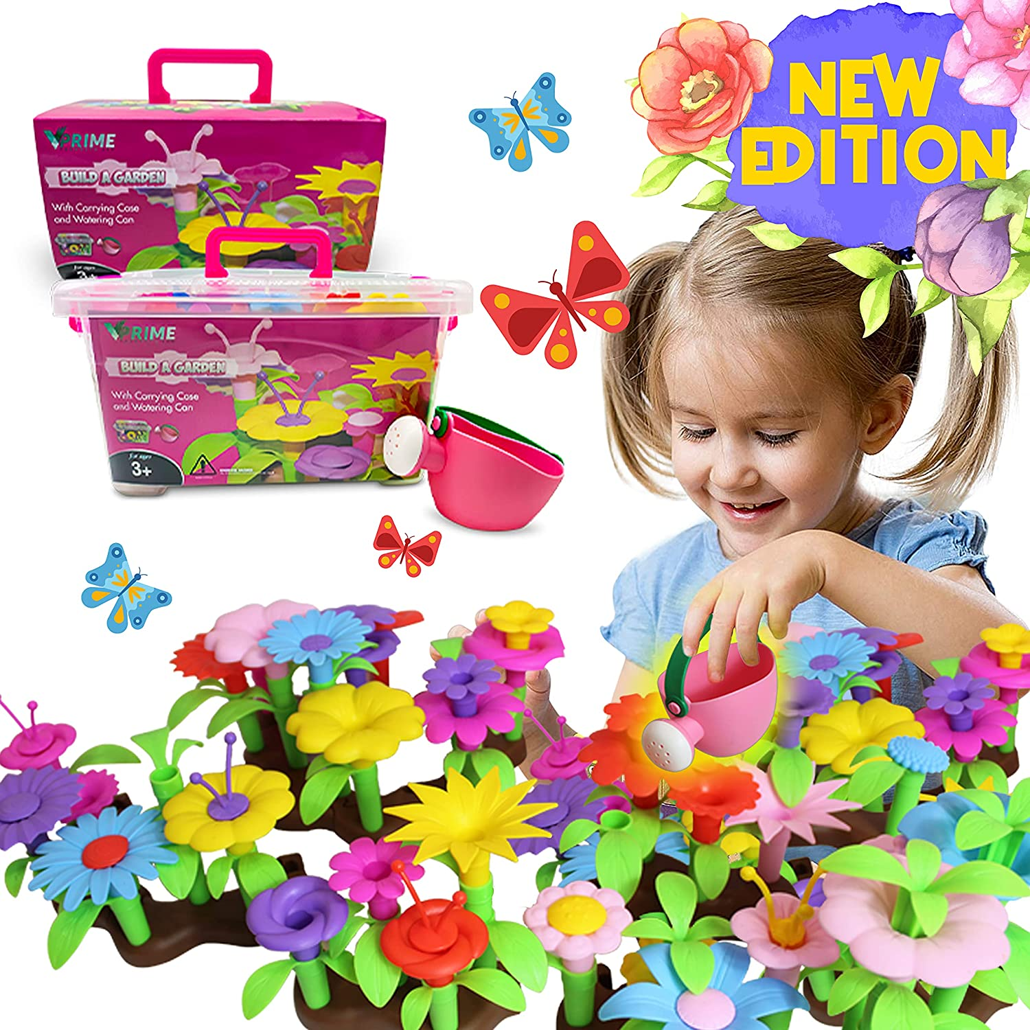 VPRIME Flower Garden Building Toy Super beauty product restock quality top Gift Case an with Large discharge sale Set Carrying