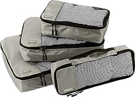 AmazonBasics 4-Piece Packing Cube Set - Small, Medium, Large, and Slim, Gray