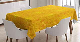 Ambesonne Yellow Mandala Tablecloth, Vibrant Colored Abstract Lotus Flowers Native Artwork Warm Sun Inspired, Dining Room Kitchen Rectangular Table Cover, 60